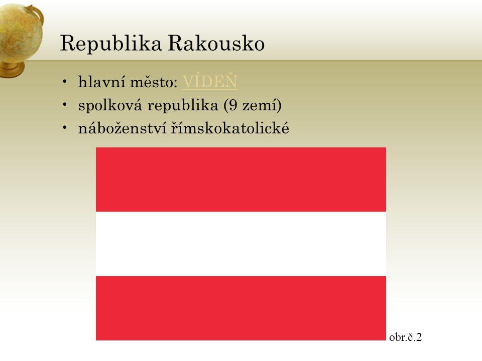Republika Rakousko hlavní město: VÍDEŇVÍDEŇ spolková republika (9 zemí) náboženství římskokatolické obr.č.2