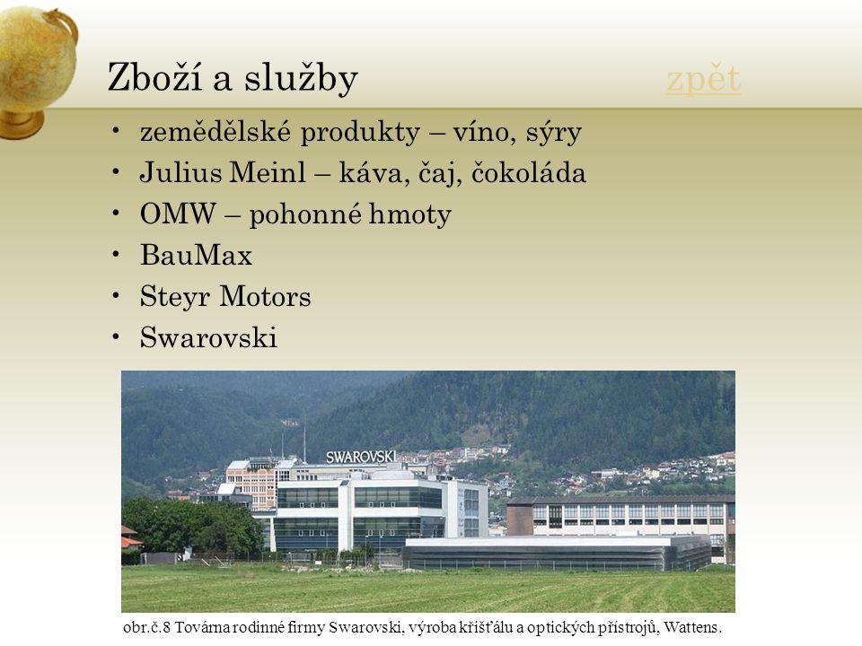 Zboží a služby zpětzpět zemědělské produkty – víno, sýry Julius Meinl – káva, čaj, čokoláda OMW – pohonné hmoty BauMax Steyr Motors Swarovski obr.č.8