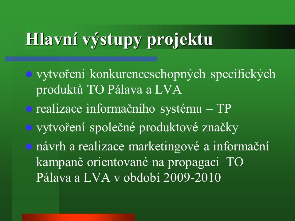 Hlavní výstupy projektu vytvoření konkurenceschopných specifických produktů TO Pálava a LVA realizace informačního systému – TP vytvoření společné produktové značky návrh a realizace marketingové a informační kampaně orientované na propagaci TO Pálava a LVA v období 2009-2010