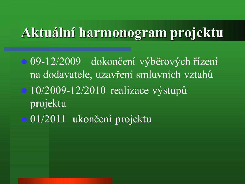 Aktuální harmonogram projektu 09-12/2009 dokončení výběrových řízení na dodavatele, uzavření smluvních vztahů 10/2009-12/2010 realizace výstupů projektu 01/2011 ukončení projektu