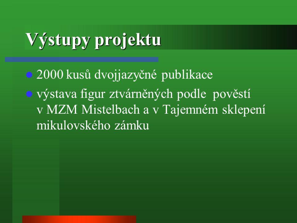 Výstupy projektu 2000 kusů dvojjazyčné publikace výstava figur ztvárněných podle pověstí v MZM Mistelbach a v Tajemném sklepení mikulovského zámku