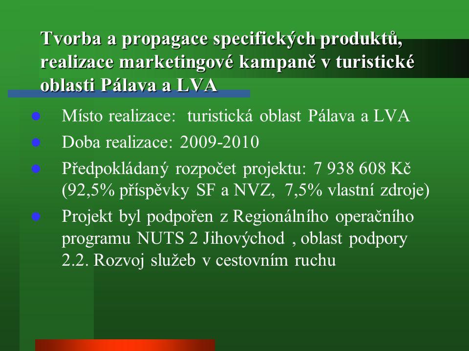 Tvorba a propagace specifických produktů, realizace marketingové kampaně v turistické oblasti Pálava a LVA Místo realizace: turistická oblast Pálava a LVA Doba realizace: 2009-2010 Předpokládaný rozpočet projektu: 7 938 608 Kč (92,5% příspěvky SF a NVZ, 7,5% vlastní zdroje) Projekt byl podpořen z Regionálního operačního programu NUTS 2 Jihovýchod, oblast podpory 2.2.