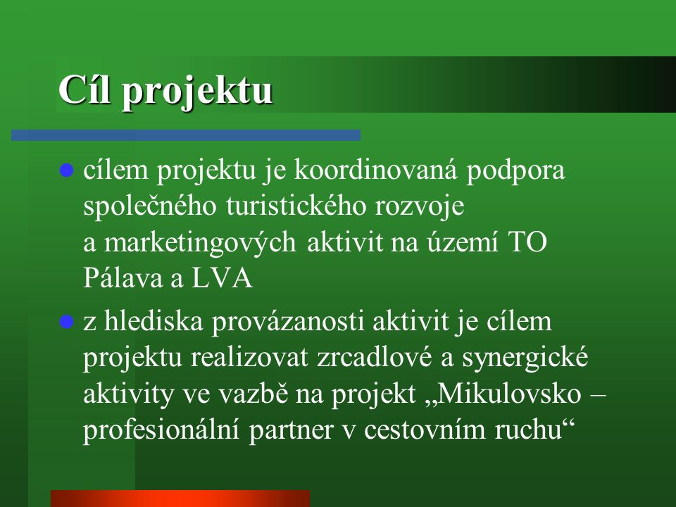 """Cíl projektu cílem projektu je koordinovaná podpora společného turistického rozvoje a marketingových aktivit na území TO Pálava a LVA z hlediska provázanosti aktivit je cílem projektu realizovat zrcadlové a synergické aktivity ve vazbě na projekt """"Mikulovsko – profesionální partner v cestovním ruchu"""