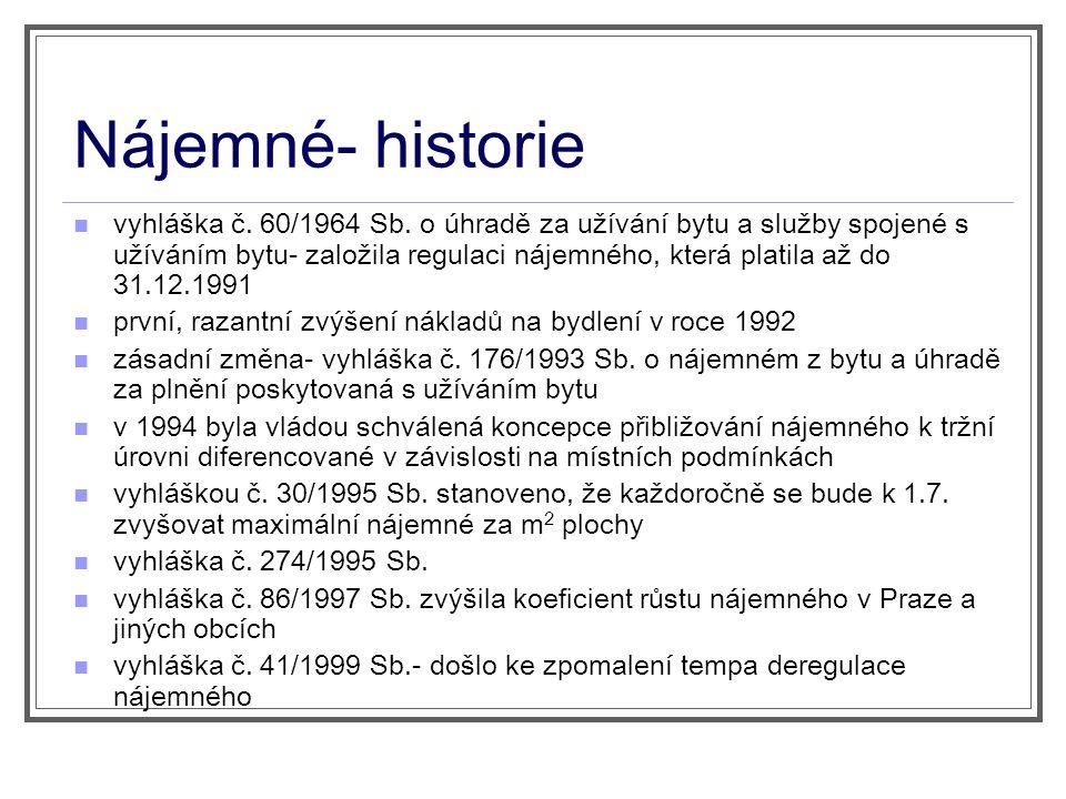 Nájemné- historie vyhláška č. 60/1964 Sb.