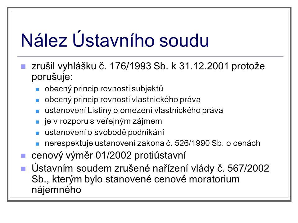 Nález Ústavního soudu zrušil vyhlášku č. 176/1993 Sb.