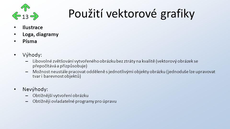 Ilustrace Loga, diagramy Písma Výhody: – Libovolné zvětšování vytvořeného obrázku bez ztráty na kvalitě (vektorový obrázek se přepočítává a přizpůsobuje) – Možnost neustále pracovat odděleně s jednotlivými objekty obrázku (jednoduše lze upravovat tvar i barevnost objektů) Nevýhody: – Obtížnější vytvoření obrázku – Obtížněji ovladatelné programy pro úpravu Použití vektorové grafiky 13