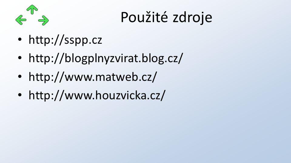 http://sspp.cz http://blogplnyzvirat.blog.cz/ http://www.matweb.cz/ http://www.houzvicka.cz/ Použité zdroje