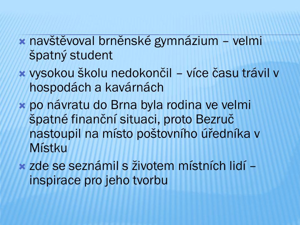 bývalý důl Petr Bezruč v Ostravě pamětní síň v Kostelci na Hané pamětní deska na hl. poště v Brně