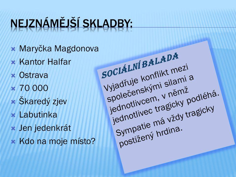  Maryčka Magdonova  Kantor Halfar  Ostrava  70 000  Škaredý zjev  Labutinka  Jen jedenkrát  Kdo na moje místo.