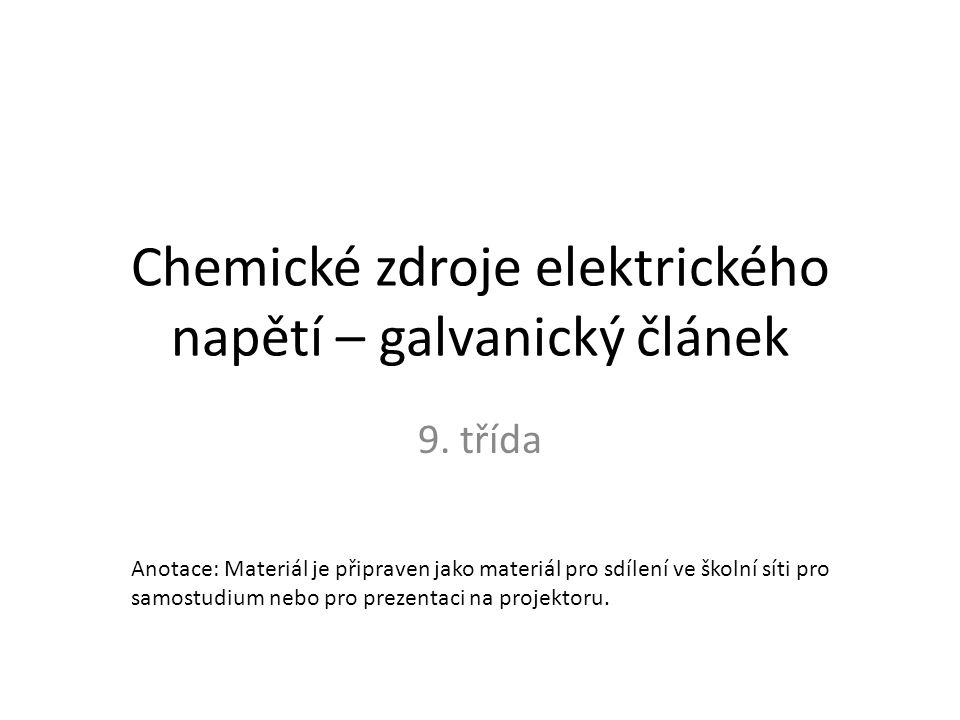 Obecná definice Galvanický článek je primární článek poskytující elektrický proud Primární znamená, že okamžitě po sestavení poskytuje elektrický proud Oproti akumulátoru umožňuje vedení elektrochemické reakce pouze jedním směrem – Vybíjí se Množství energie je dáno množstvím chemických látek uvnitř článku