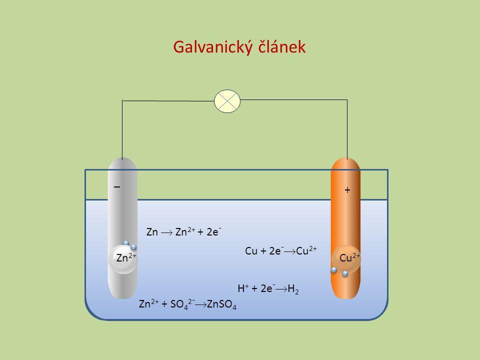 Zn  Zn 2+ + 2e - Cu + 2e -  Cu 2+ _ + Zn 2+ Cu 2+ H + + 2e -  H 2 Zn 2+ + SO 4 2 -  ZnSO 4 Galvanický článek