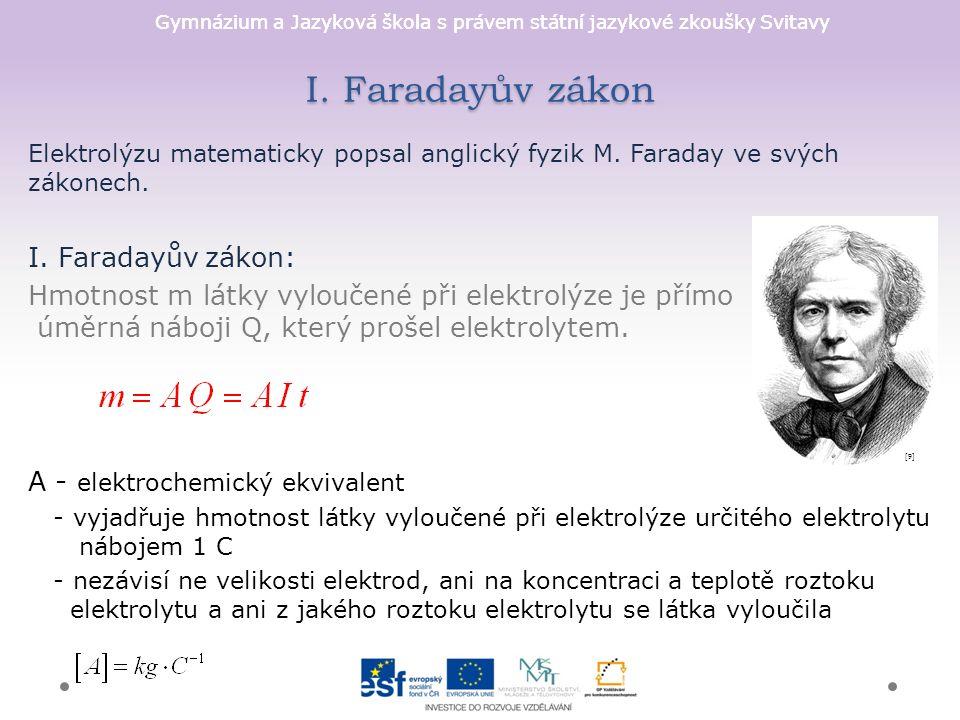 Gymnázium a Jazyková škola s právem státní jazykové zkoušky Svitavy I. Faradayův zákon Elektrolýzu matematicky popsal anglický fyzik M. Faraday ve svý