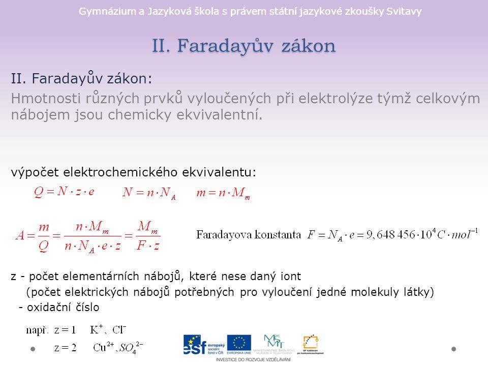 Gymnázium a Jazyková škola s právem státní jazykové zkoušky Svitavy II. Faradayův zákon II. Faradayův zákon: Hmotnosti různých prvků vyloučených při e