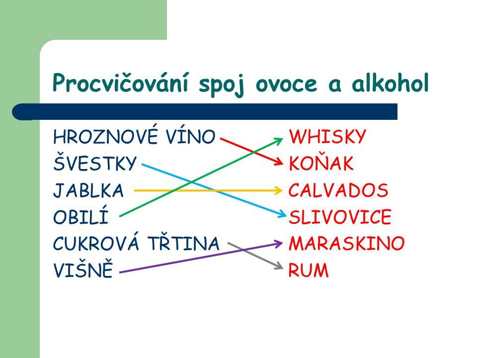 Procvičování spoj ovoce a alkohol HROZNOVÉ VÍNO ŠVESTKY JABLKA OBILÍ CUKROVÁ TŘTINA VIŠNĚ WHISKY KOŇAK CALVADOS SLIVOVICE MARASKINO RUM