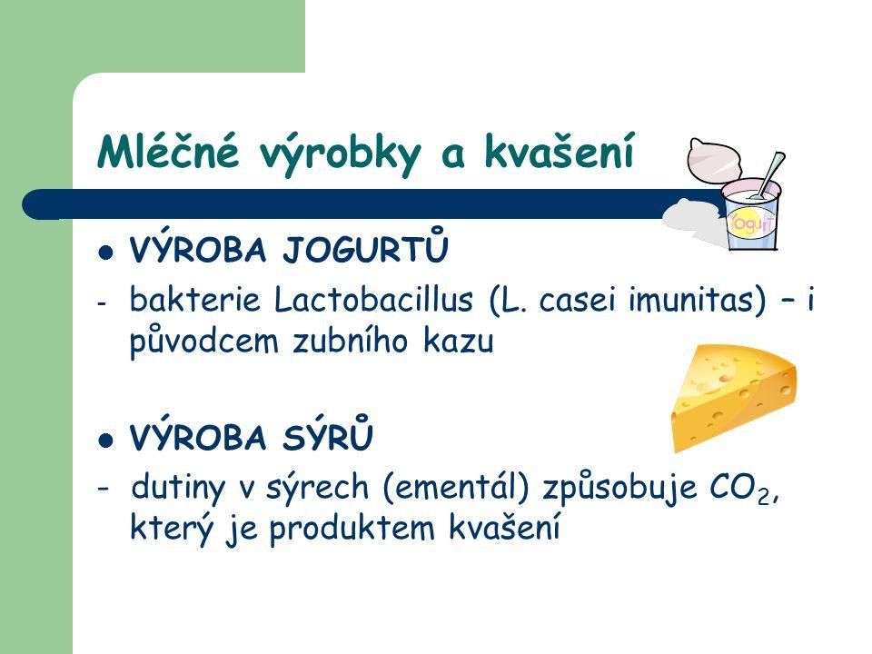 Mléčné výrobky a kvašení VÝROBA JOGURTŮ -b-bakterie Lactobacillus (L. casei imunitas) – i původcem zubního kazu VÝROBA SÝRŮ - dutiny v sýrech (ementál