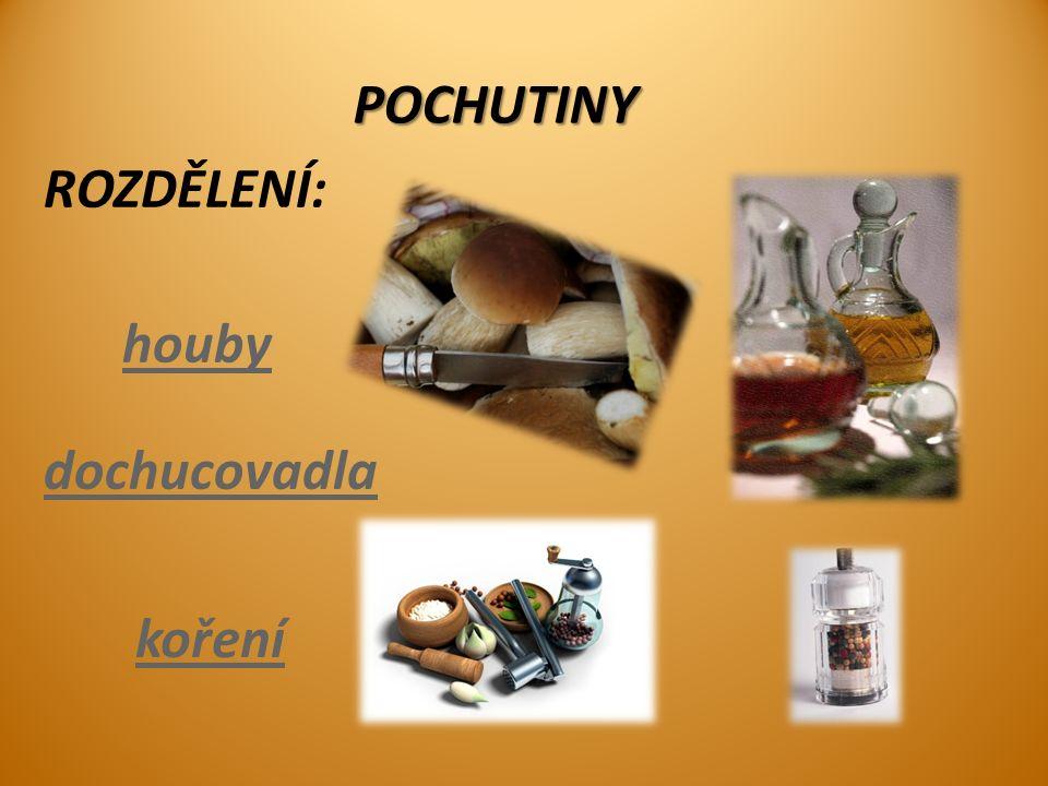 ROZDĚLENÍ: koření houby dochucovadlaPOCHUTINY
