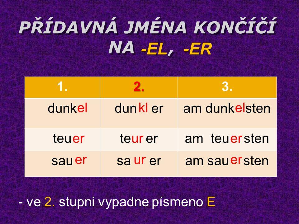 PŘÍDAVNÁ JMÉNA KONČÍČÍ NA, - ve stupni vypadne písmeno 1.2.3.