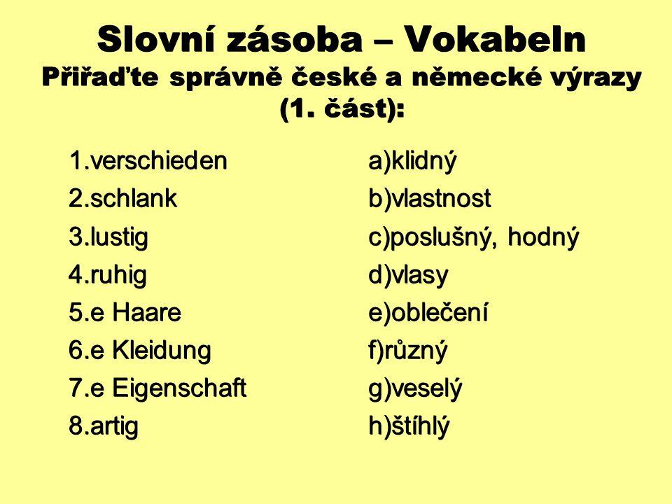 Slovní zásoba – Vokabeln Přiřaďte správně české a německé výrazy (1. část):  verschieden  schlank  lustig  ruhig  e Haare  e Kleidung  e
