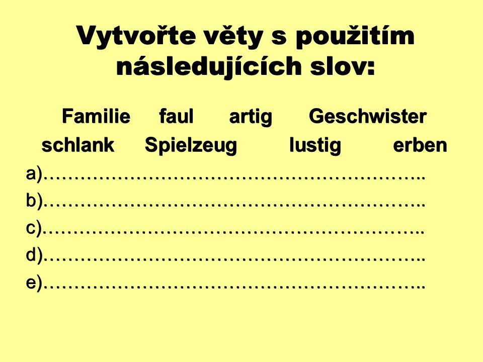 Vytvořte věty s použitím následujících slov: Familie faul artig Geschwister schlank Spielzeug lustig erben  ……………………………………………………..  ……………………………………