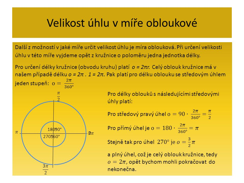 Jednotky velikosti úhlů Radián je středový úhel, který přísluší na jednotkové kružnici oblouku o délce 1 1 1 rad 2 rad 3 rad 4 rad 5 rad6 rad 1 Určete velikost 1 radiánu ve stupních s přesností na vteřiny.