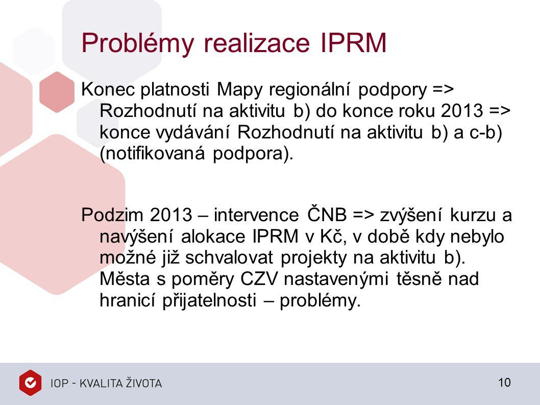 Problémy realizace IPRM Konec platnosti Mapy regionální podpory => Rozhodnutí na aktivitu b) do konce roku 2013 => konce vydávání Rozhodnutí na aktivitu b) a c-b) (notifikovaná podpora).