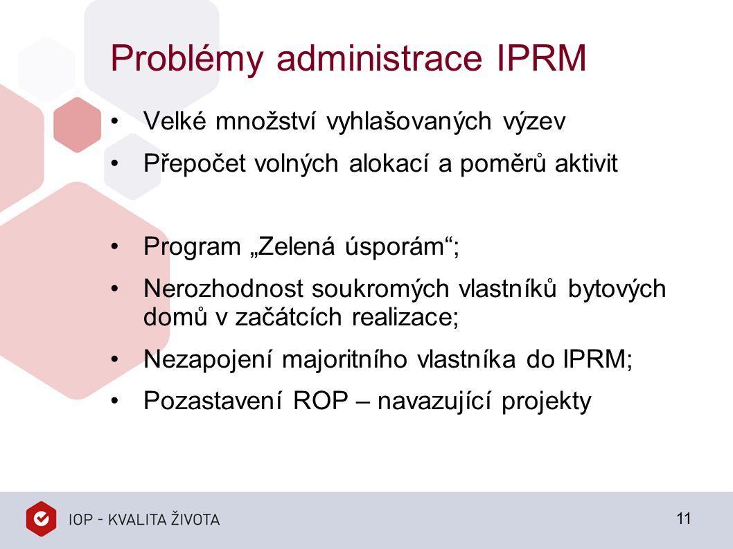 """Problémy administrace IPRM Velké množství vyhlašovaných výzev Přepočet volných alokací a poměrů aktivit Program """"Zelená úsporám ; Nerozhodnost soukromých vlastníků bytových domů v začátcích realizace; Nezapojení majoritního vlastníka do IPRM; Pozastavení ROP – navazující projekty 11"""