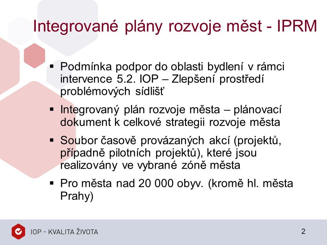 Integrované plány rozvoje měst - IPRM  Podmínka podpor do oblasti bydlení v rámci intervence 5.2.