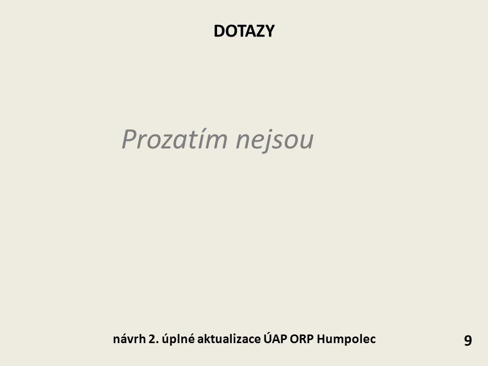 DOTAZY Prozatím nejsou 9 návrh 2. úplné aktualizace ÚAP ORP Humpolec