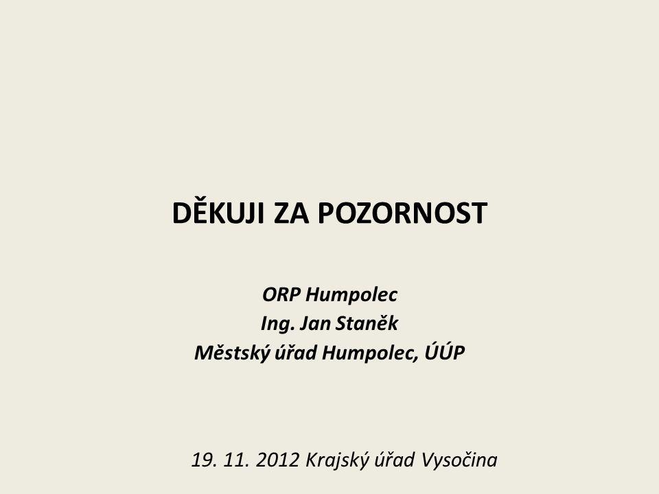 DĚKUJI ZA POZORNOST ORP Humpolec Ing. Jan Staněk Městský úřad Humpolec, ÚÚP 19.