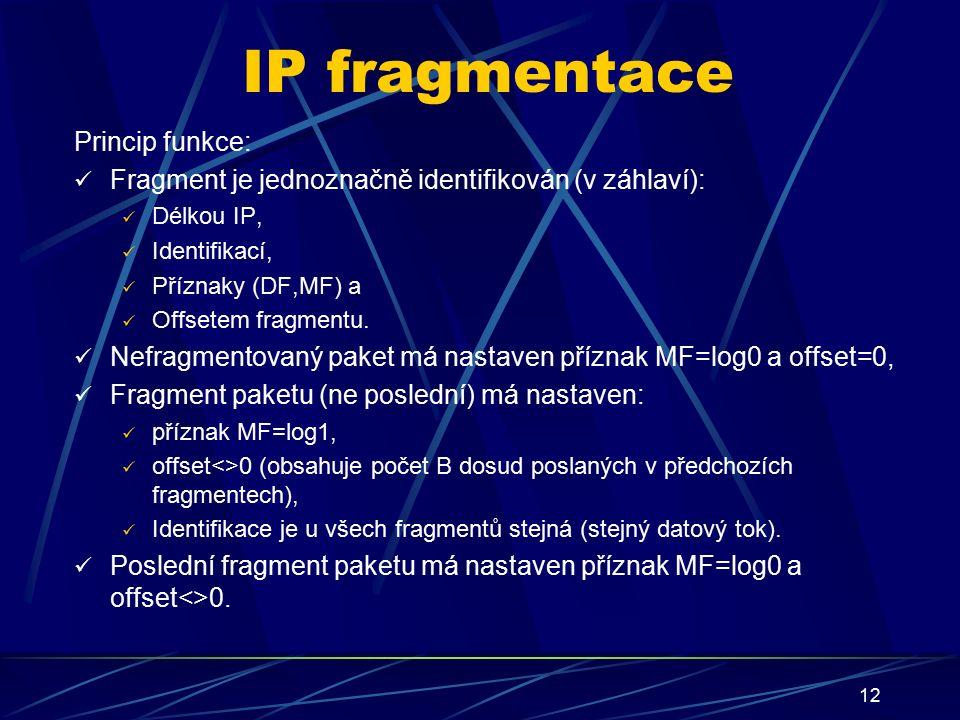 12 IP fragmentace Princip funkce: Fragment je jednoznačně identifikován (v záhlaví): Délkou IP, Identifikací, Příznaky (DF,MF) a Offsetem fragmentu.