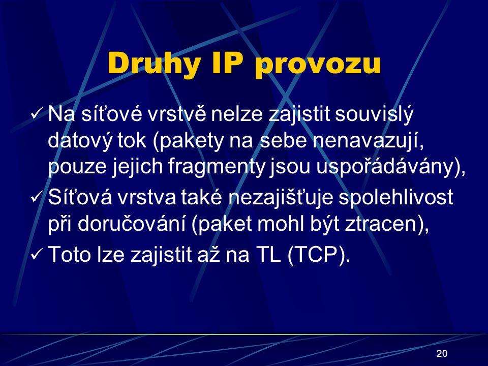20 Druhy IP provozu Na síťové vrstvě nelze zajistit souvislý datový tok (pakety na sebe nenavazují, pouze jejich fragmenty jsou uspořádávány), Síťová vrstva také nezajišťuje spolehlivost při doručování (paket mohl být ztracen), Toto lze zajistit až na TL (TCP).