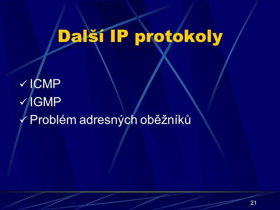 21 Další IP protokoly ICMP IGMP Problém adresných oběžníků
