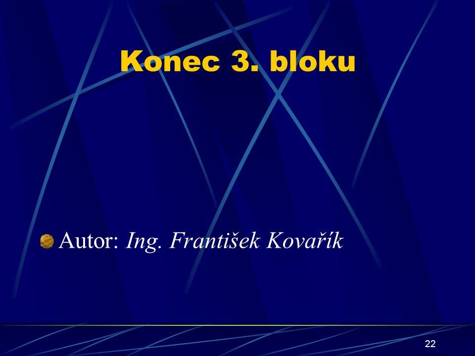 22 Konec 3. bloku Autor: Ing. František Kovařík