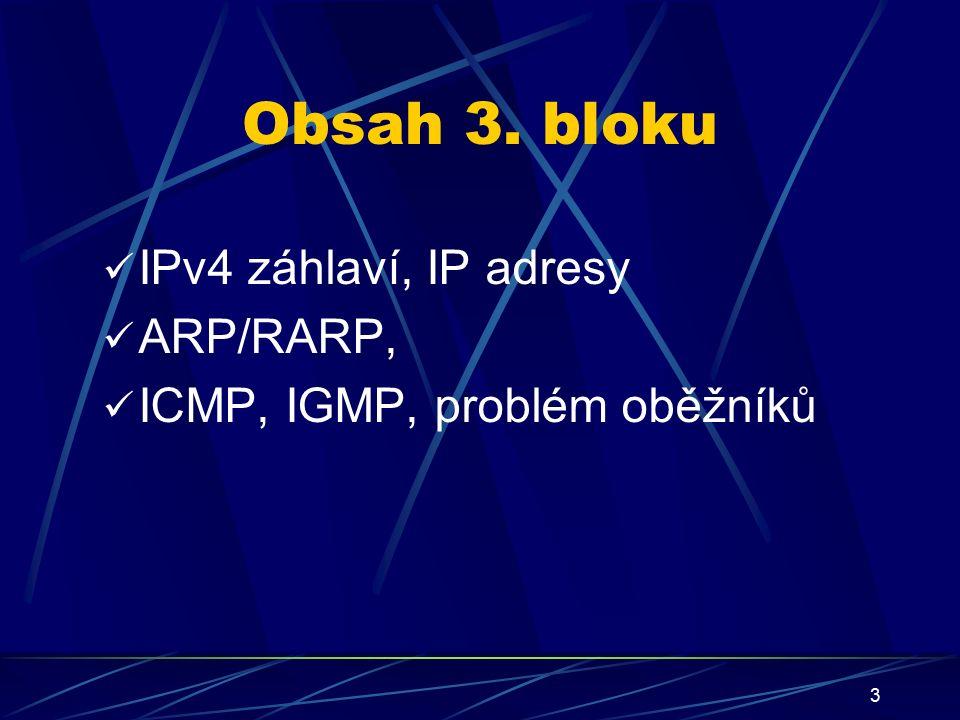 14 Adresování sítí Adresa sítě (network) Adresa zařízení (host) Obecné dělení (Epocha I.) Celková délka 32 bitů (4 byty), dělení podle tříd (class) Adresa sítě (network) Adresa zařízení (host) Vytvoření podsítě (Epocha II.) Každé zavedení podsítě snižuje počet host adres v dané podsíti Adresa podsítě (subnet)