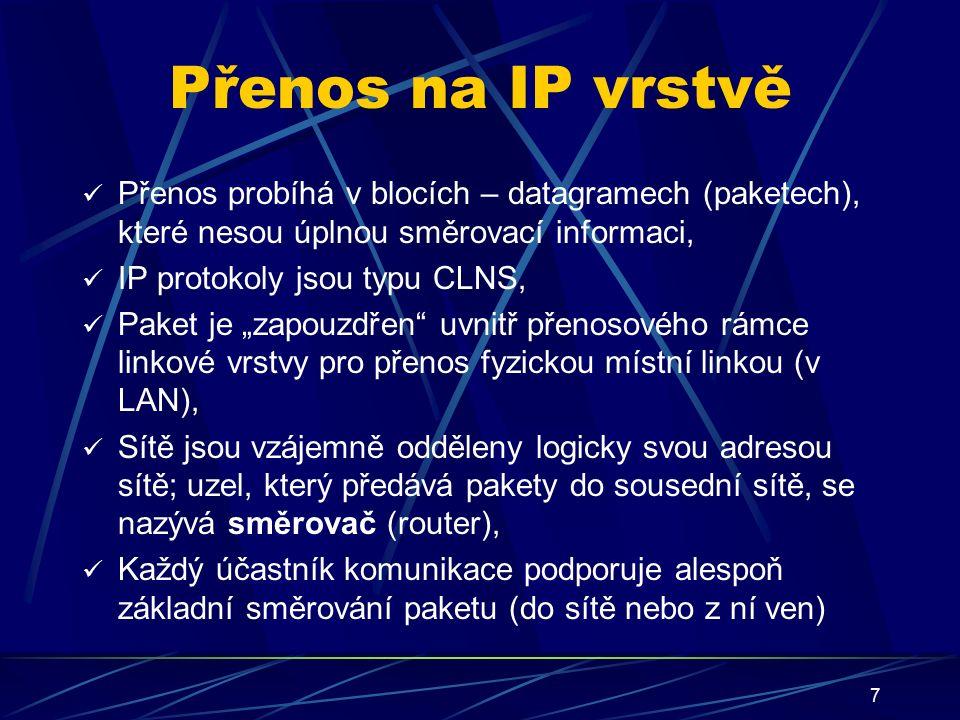 """7 Přenos na IP vrstvě Přenos probíhá v blocích – datagramech (paketech), které nesou úplnou směrovací informaci, IP protokoly jsou typu CLNS, Paket je """"zapouzdřen uvnitř přenosového rámce linkové vrstvy pro přenos fyzickou místní linkou (v LAN), Sítě jsou vzájemně odděleny logicky svou adresou sítě; uzel, který předává pakety do sousední sítě, se nazývá směrovač (router), Každý účastník komunikace podporuje alespoň základní směrování paketu (do sítě nebo z ní ven)"""