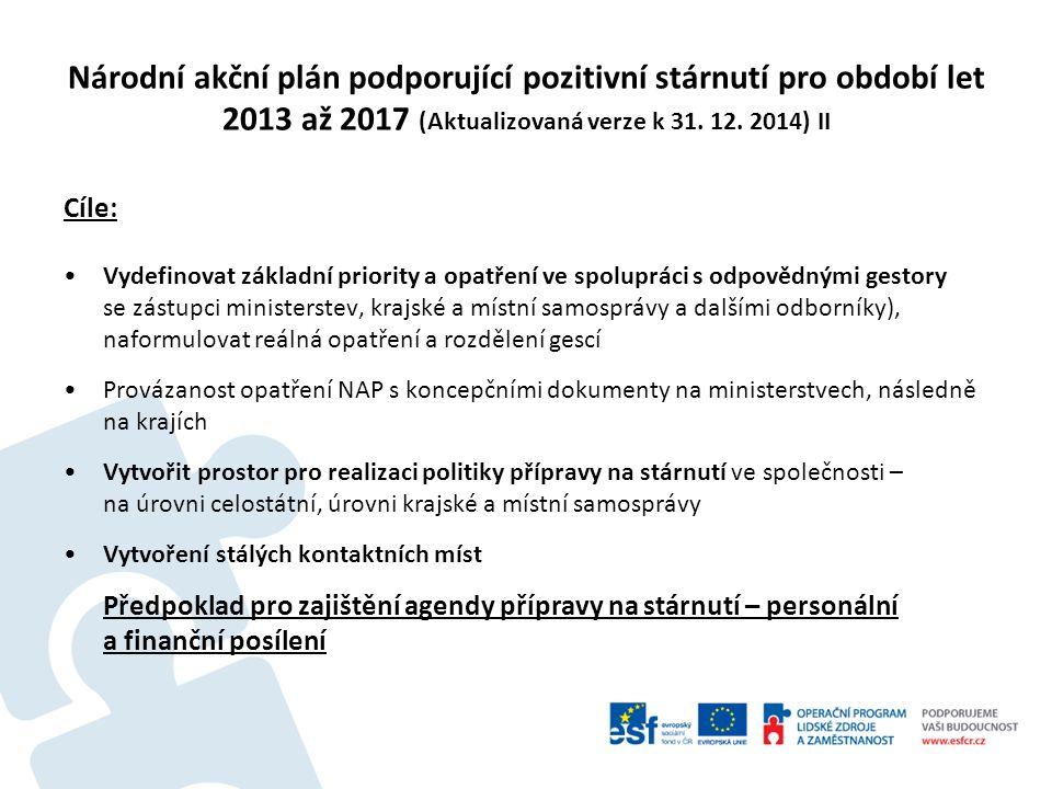Národní akční plán podporující pozitivní stárnutí pro období let 2013 až 2017 (Aktualizovaná verze k 31. 12. 2014) II Cíle: Vydefinovat základní prior