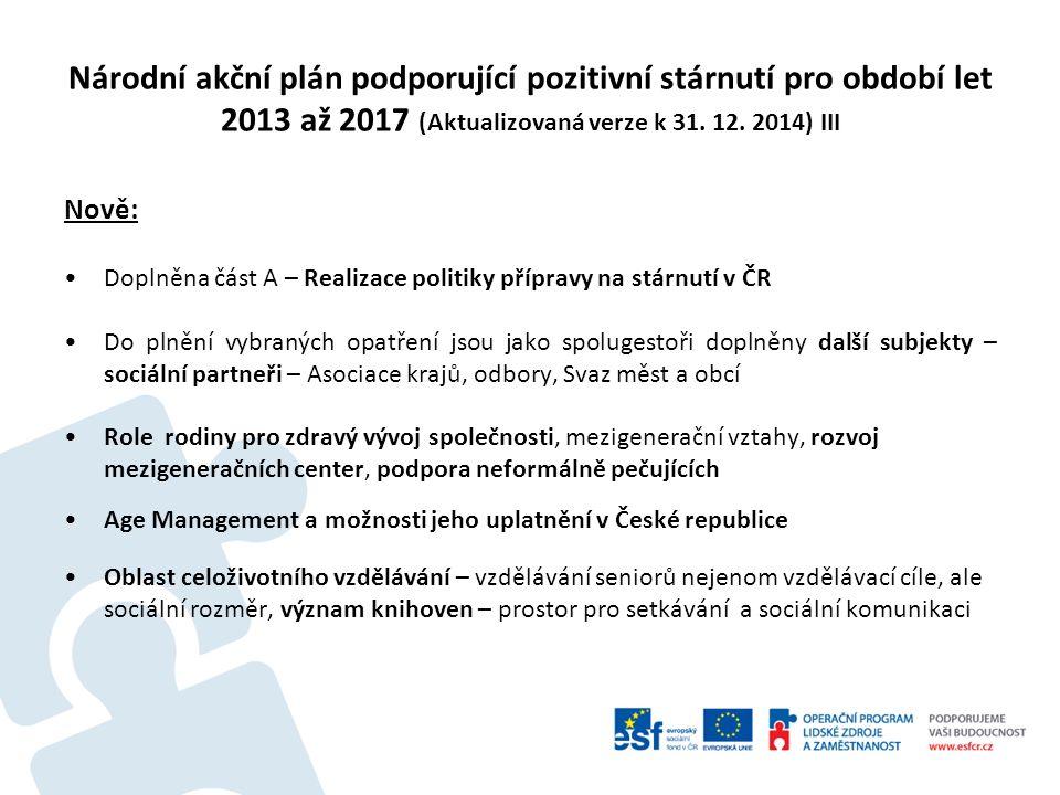 Národní akční plán podporující pozitivní stárnutí pro období let 2013 až 2017 (Aktualizovaná verze k 31. 12. 2014) III Nově: Doplněna část A – Realiza