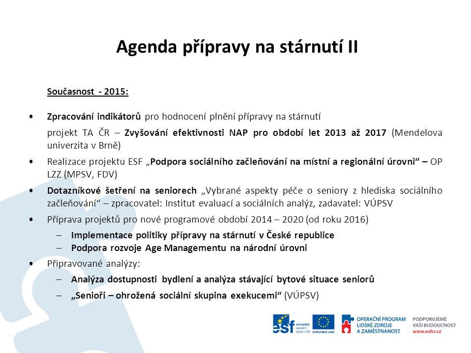 Agenda přípravy na stárnutí II Současnost - 2015: Zpracování indikátorů pro hodnocení plnění přípravy na stárnutí projekt TA ČR – Zvyšování efektivnos