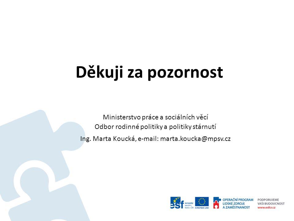 Děkuji za pozornost Ministerstvo práce a sociálních věcí Odbor rodinné politiky a politiky stárnutí Ing. Marta Koucká, e-mail: marta.koucka@mpsv.cz