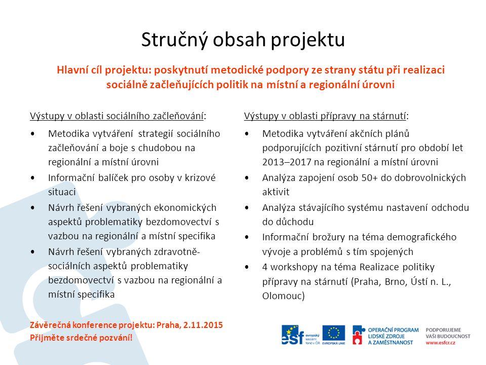 Stručný obsah projektu Výstupy v oblasti sociálního začleňování: Metodika vytváření strategií sociálního začleňování a boje s chudobou na regionální a místní úrovni Informační balíček pro osoby v krizové situaci Návrh řešení vybraných ekonomických aspektů problematiky bezdomovectví s vazbou na regionální a místní specifika Návrh řešení vybraných zdravotně- sociálních aspektů problematiky bezdomovectví s vazbou na regionální a místní specifika Výstupy v oblasti přípravy na stárnutí: Metodika vytváření akčních plánů podporujících pozitivní stárnutí pro období let 2013–2017 na regionální a místní úrovni Analýza zapojení osob 50+ do dobrovolnických aktivit Analýza stávajícího systému nastavení odchodu do důchodu Informační brožury na téma demografického vývoje a problémů s tím spojených 4 workshopy na téma Realizace politiky přípravy na stárnutí (Praha, Brno, Ústí n.