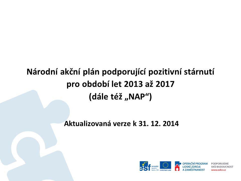 """Národní akční plán podporující pozitivní stárnutí pro období let 2013 až 2017 (dále též """"NAP"""") Aktualizovaná verze k 31. 12. 2014"""