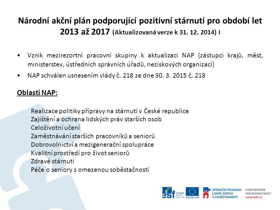 Národní akční plán podporující pozitivní stárnutí pro období let 2013 až 2017 (Aktualizovaná verze k 31. 12. 2014) I Vznik mezirezortní pracovní skupi