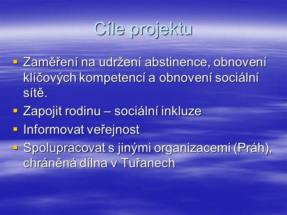 Cíle projektu  Zaměření na udržení abstinence, obnovení klíčových kompetencí a obnovení sociální sítě.
