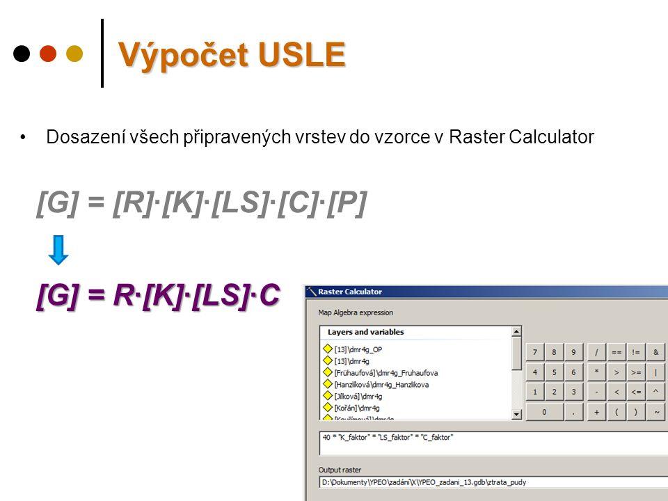 Výpočet USLE Dosazení všech připravených vrstev do vzorce v Raster Calculator [G] = [R]·[K]·[LS]·[C]·[P] [G] = R·[K]·[LS]·C