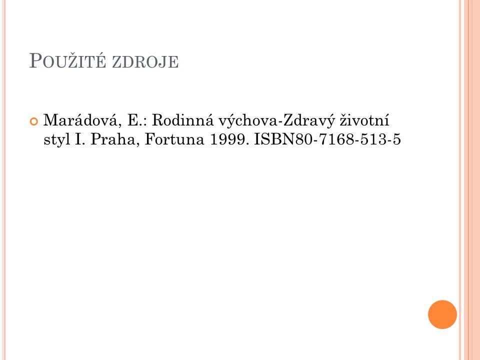 P OUŽITÉ ZDROJE Marádová, E.: Rodinná výchova-Zdravý životní styl I.