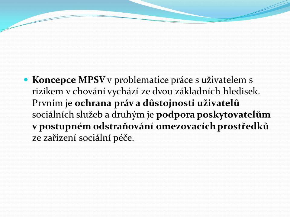 Problematika omezování pohybu uživatele sociálních služeb začala být řešena v srpnu 2003 v souvislosti se zprávou CPT (evropský výbor pro zabránění mučení a nelidskému či ponižujícímu zacházení nebo trestání) o stavu lidských práv v ČR.