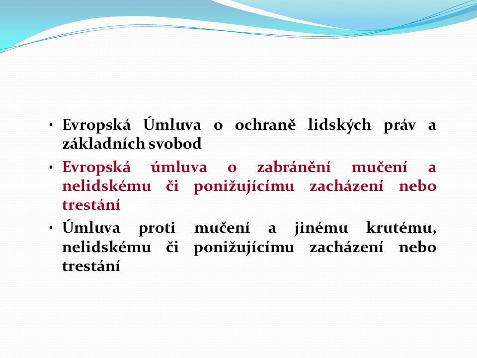 Omezení osobní svobody upravují Listina základních práv a svobod (vyhlášená pod č.