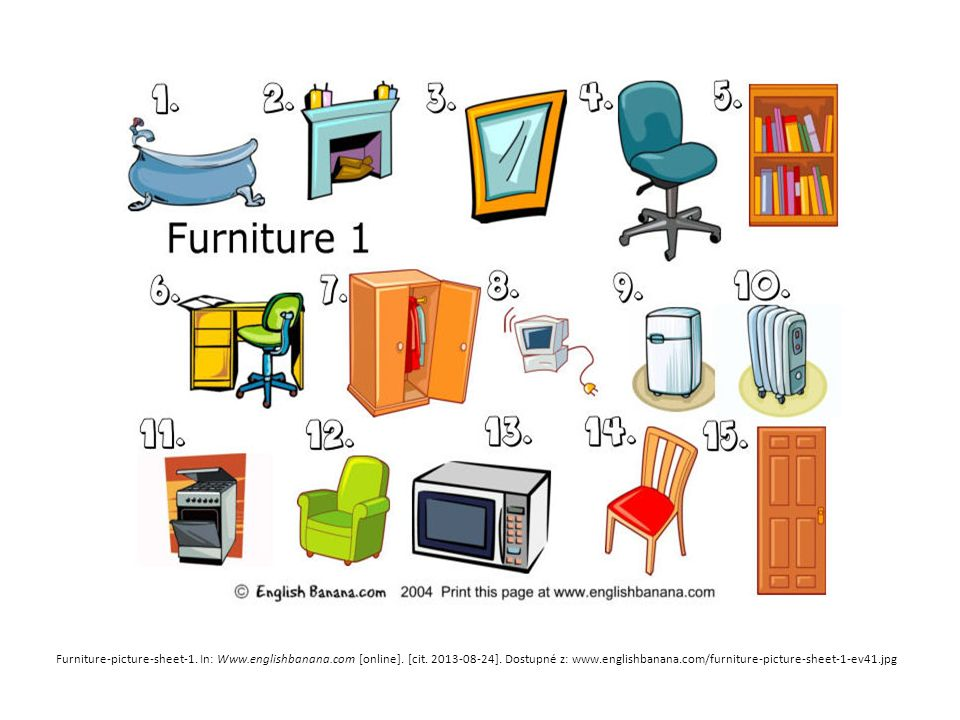 Furniture-picture-sheet-1. In: Www.englishbanana.com [online].