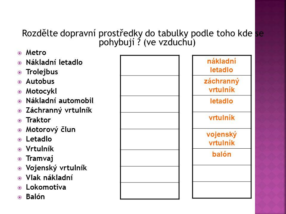 Rozdělte dopravní prostředky do tabulky podle toho kde se pohybují .