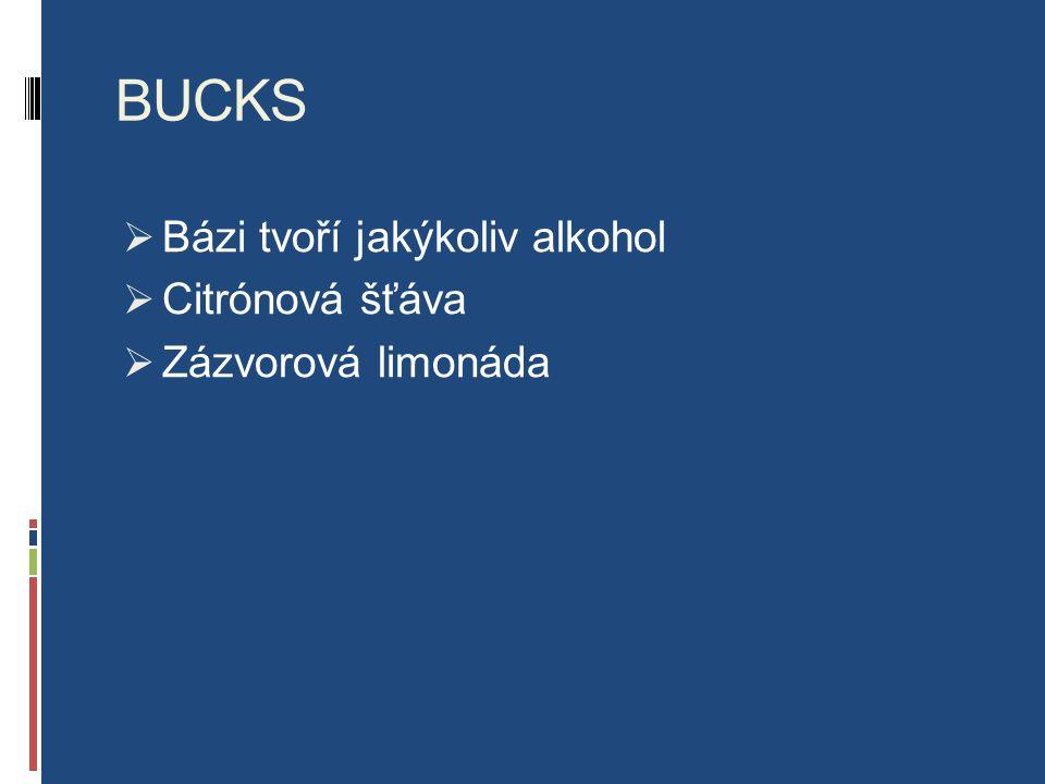 BUCKS  Bázi tvoří jakýkoliv alkohol  Citrónová šťáva  Zázvorová limonáda